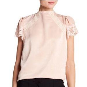 short sleeve lace inset blouse